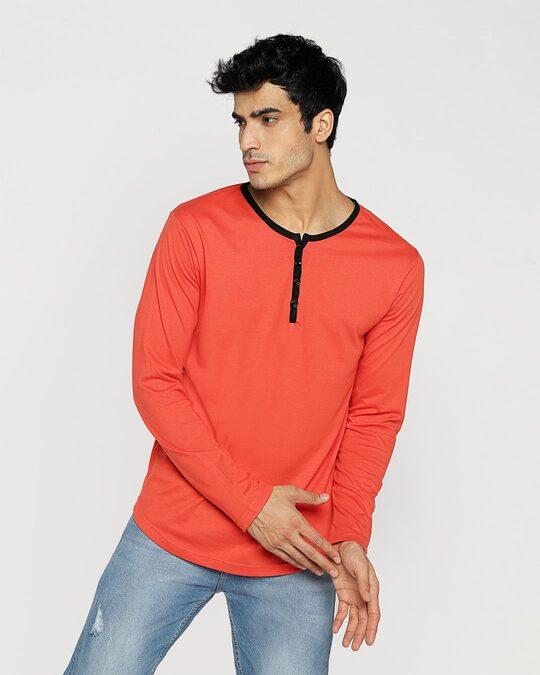 Shop Smoke Red Full Sleeve Henley T-Shirt-Back