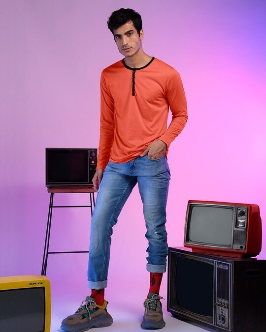 Shop Smoke Red Full Sleeve Henley T-Shirt-Front