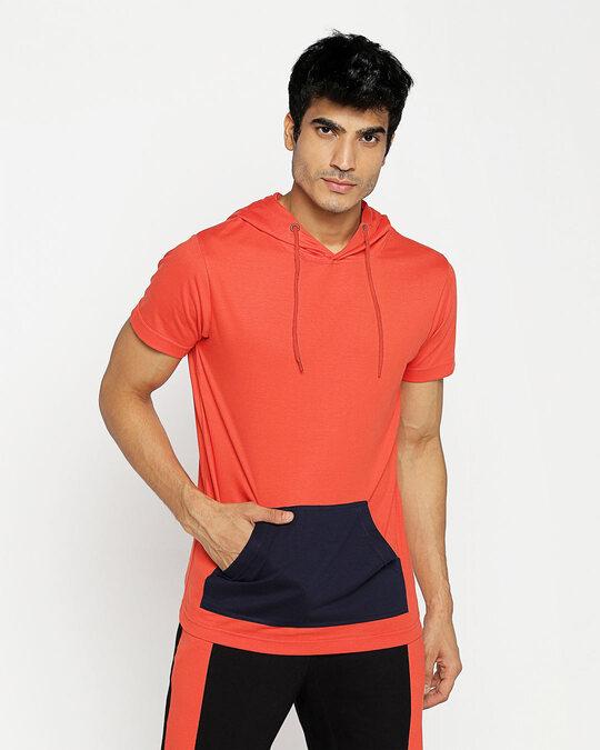 Shop Smoke Red Half Sleeve Hoodie T-Shirt-Back