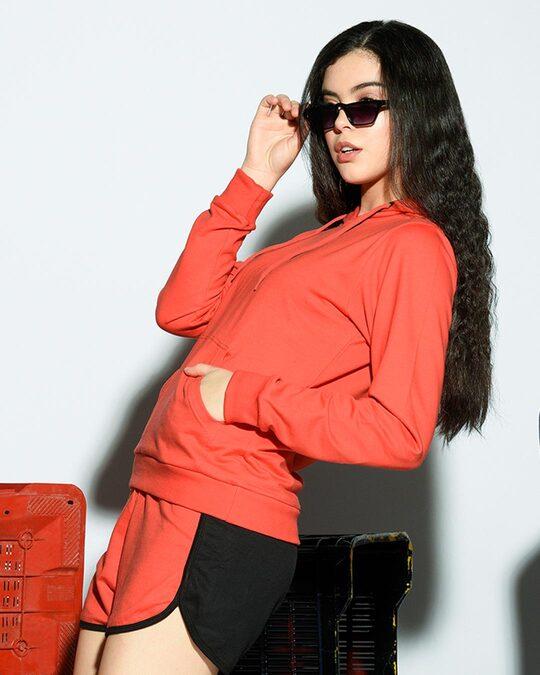 Shop Smoke Red Hoodie Sweatshirt-Front