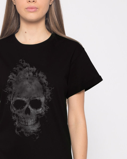 Shop Smokey Skull Boyfriend T-Shirt-Front