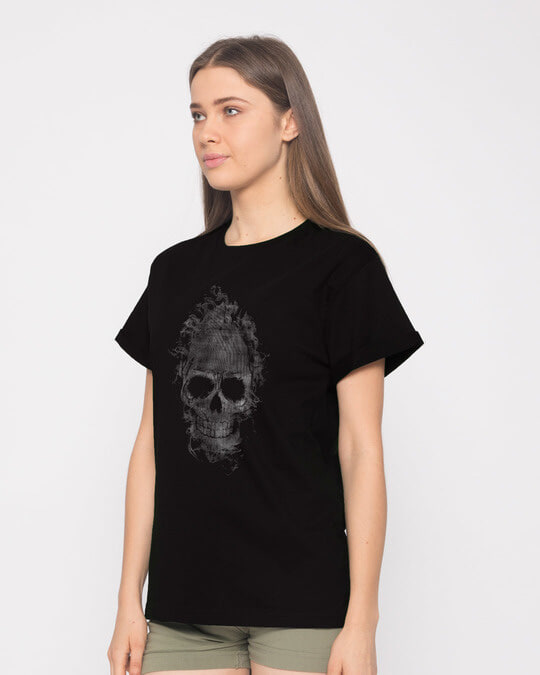 Shop Smokey Skull Boyfriend T-Shirt-Full
