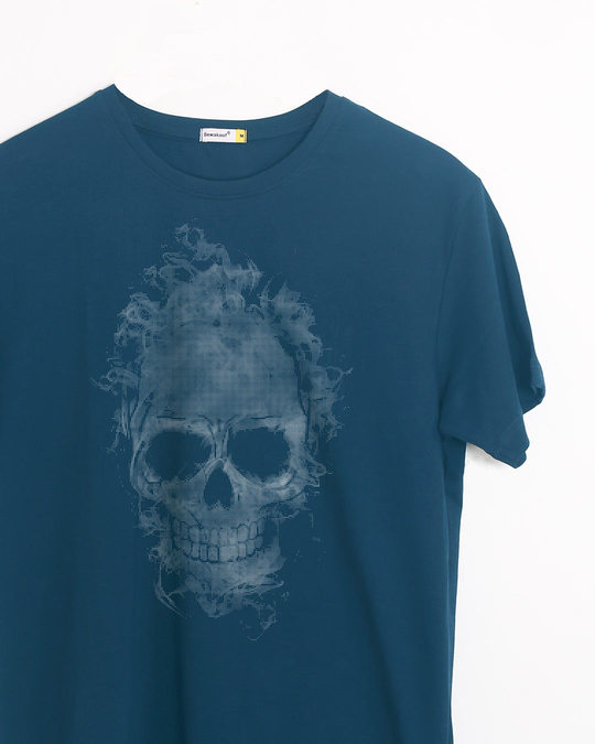 Shop Smokey Skull Half Sleeve T-Shirt-Front