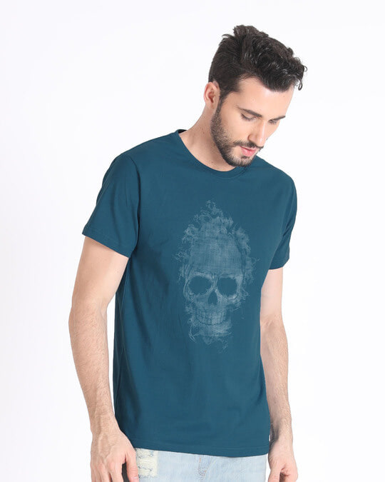 Shop Smokey Skull Half Sleeve T-Shirt-Full