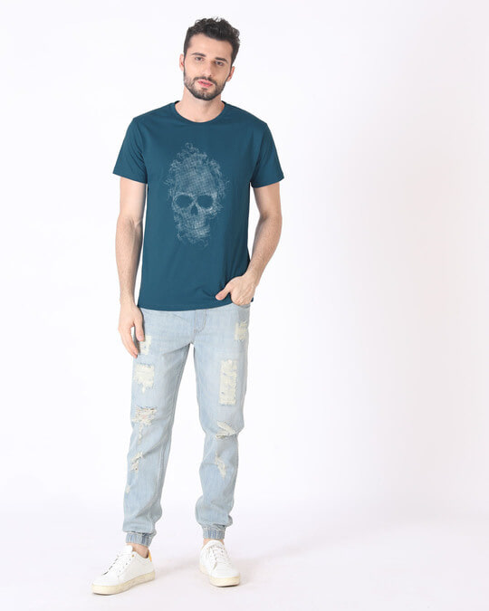 Shop Smokey Skull Half Sleeve T-Shirt