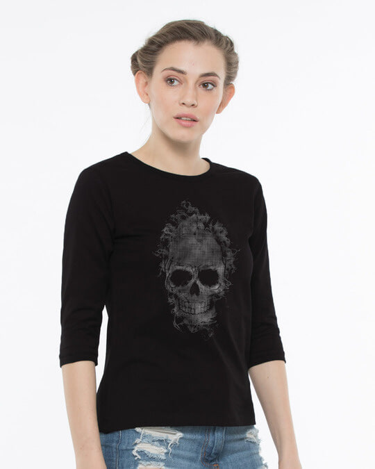 Shop Smokey Skull Round Neck 3/4th Sleeve T-Shirt-Design