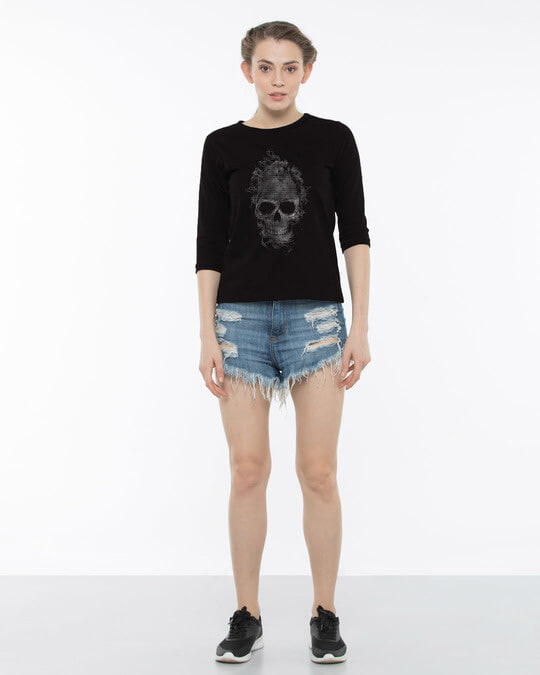 Shop Smokey Skull Round Neck 3/4th Sleeve T-Shirt