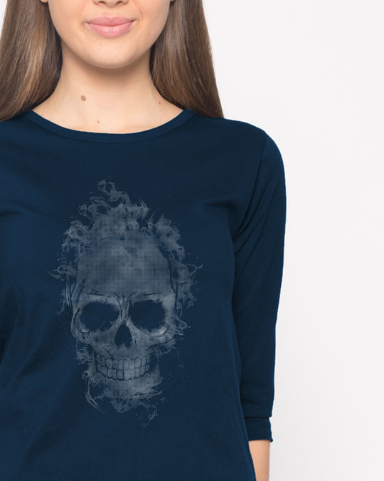 Shop Smokey Skull Round Neck 3/4th Sleeve T-Shirt-Front