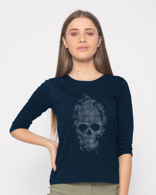 Shop Smokey Skull Round Neck 3/4th Sleeve T-Shirt-Back