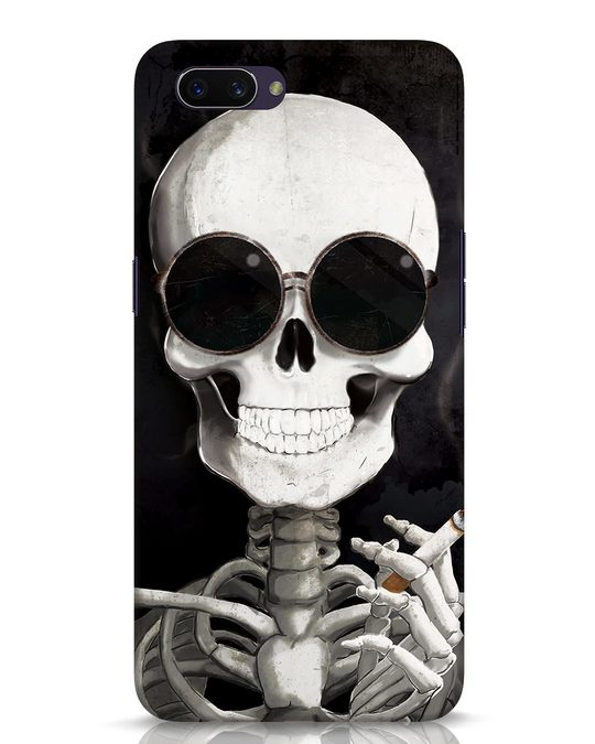 Shop Smoking Skull Oppo A3S Mobile Cover-Front