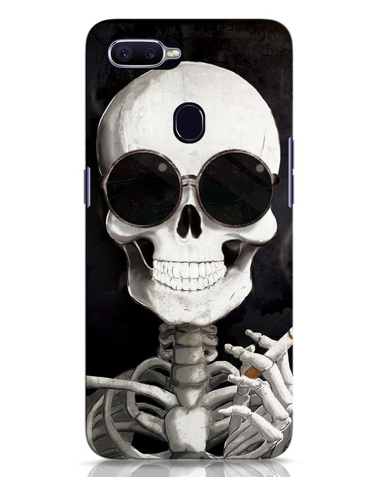 Shop Smoking Skull Oppo F9 Pro Mobile Cover-Front