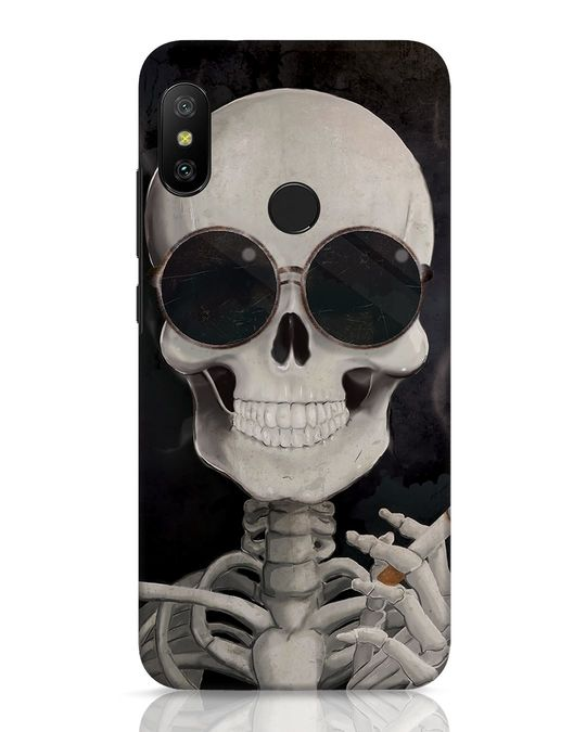 Shop Smoking Skull Xiaomi Redmi 6 Pro Mobile Cover-Front