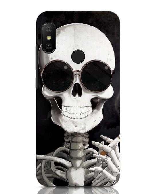 Shop Smoking Skull Xiaomi Redmi Note 6 Pro Mobile Cover-Front