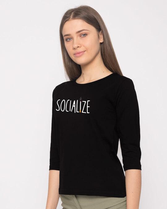 Shop Smoklize Round Neck 3/4th Sleeve T-Shirt-Back