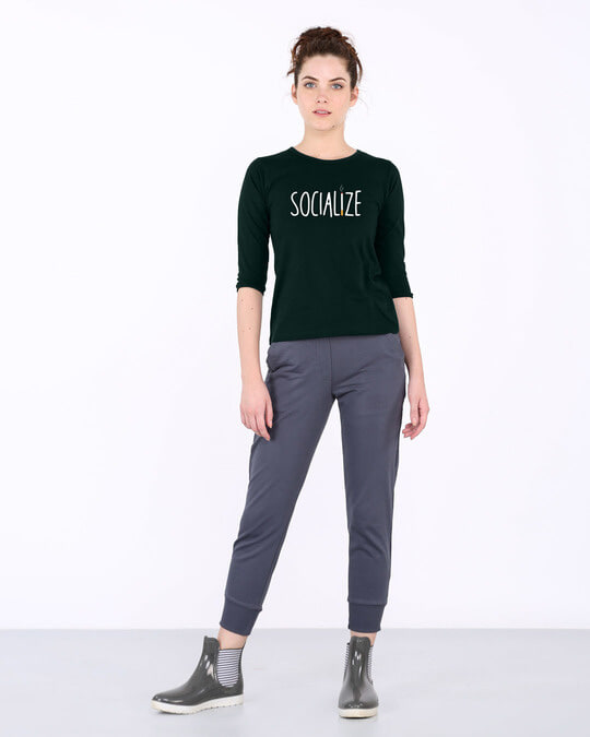 Shop Smoklize Round Neck 3/4th Sleeve T-Shirt