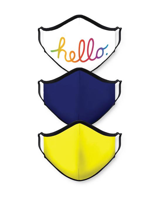 Shop Hello Royal Blue Yellow Bundle Combo Mask-Front
