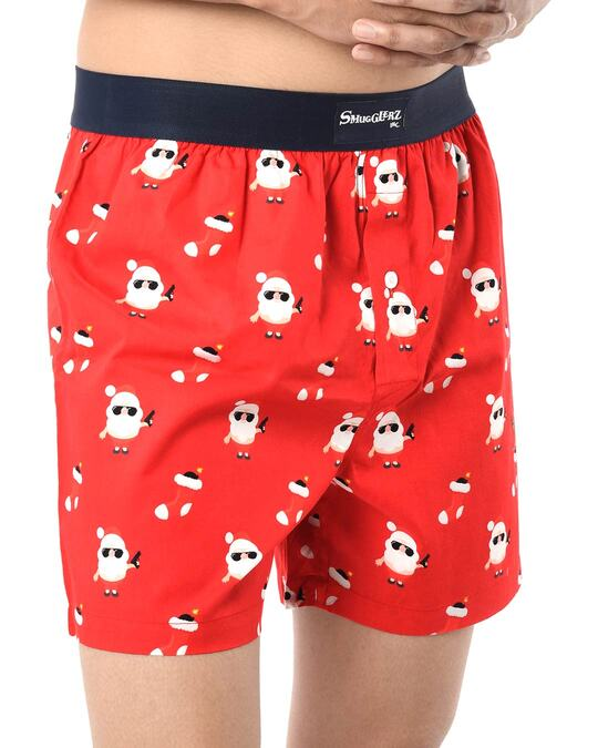 Shop Smugglerz Men's x'mas-bad santa-boxer-red-Back
