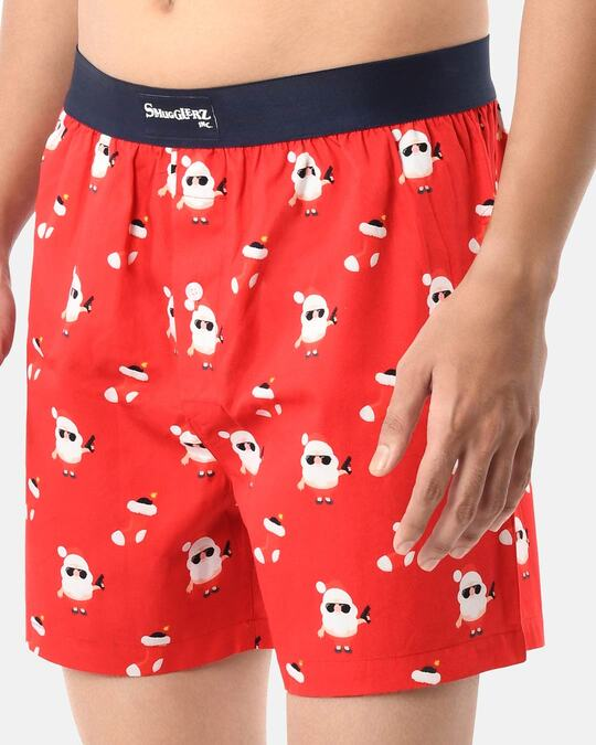 Shop Smugglerz Men's x'mas-bad santa-boxer-red-Design