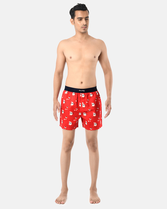 Shop Smugglerz Men's x'mas-bad santa-boxer-red