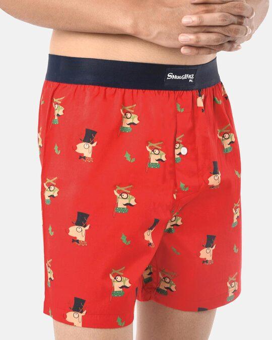 Shop Smugglerz Men's x'mas-reindeer-boxer-red-Back