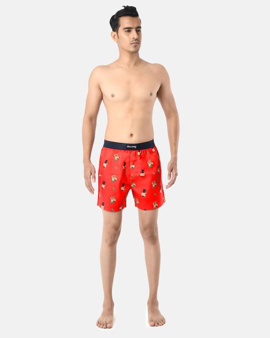 Shop Smugglerz Men's x'mas-reindeer-boxer-red