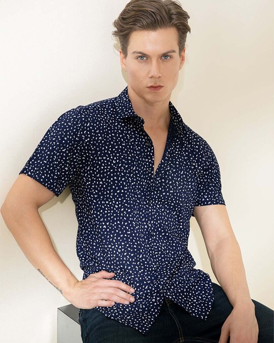 Shop Abstract Dotted Navy Shirt-Full