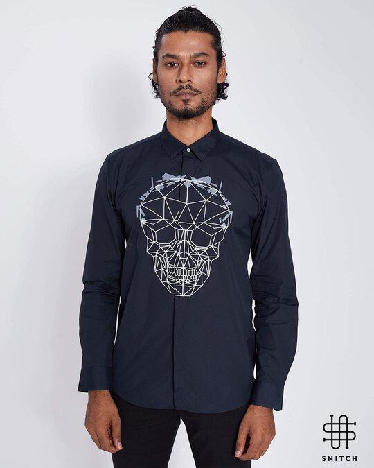 Shop Black Geometric Skull Print Shirt-Front