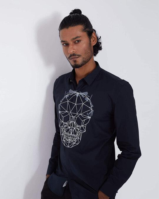 Shop Black Geometric Skull Print Shirt-Back