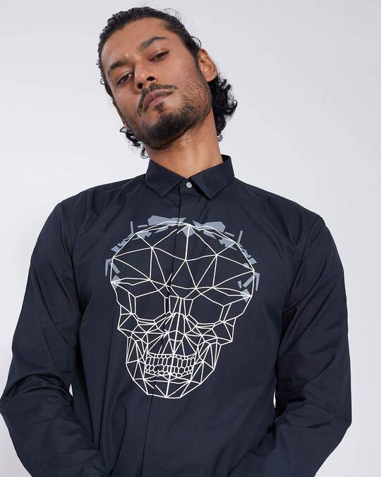 Shop Black Geometric Skull Print Shirt-Full