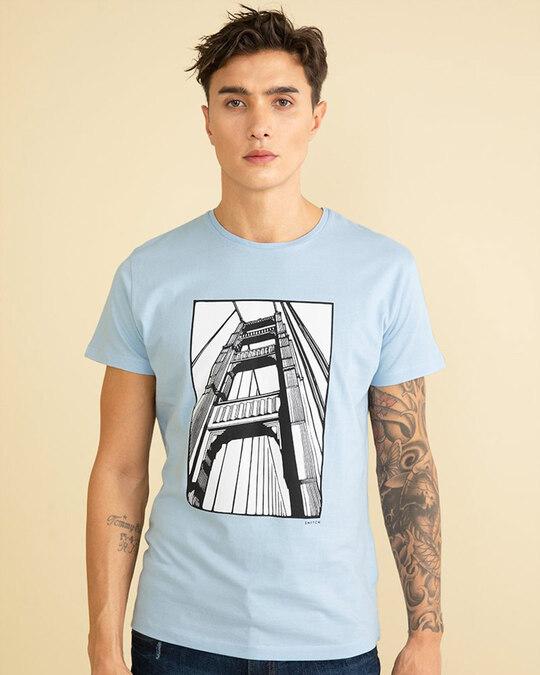 Shop Bridge Sky Blue Graphic T Shirt-Front