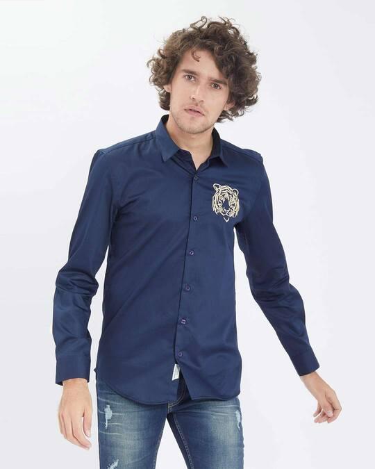 Shop Caspian Tiger Navy Satin Shirt-Back