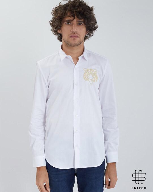 Shop Caspian Tiger White Satin Shirt-Front