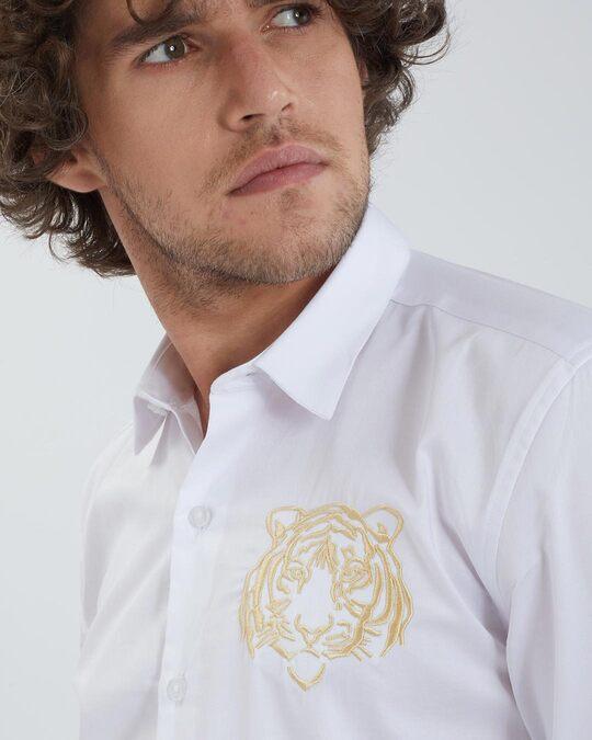 Shop Caspian Tiger White Satin Shirt-Design
