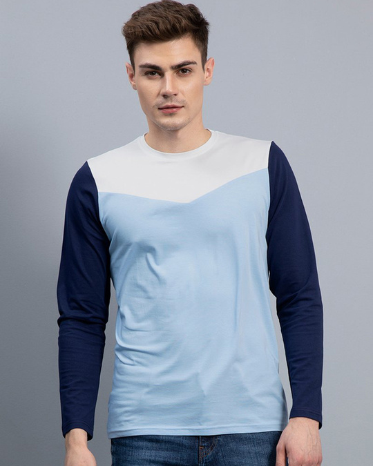 Shop Convivial Sky Blue Full Sleeves T Shirt-Front