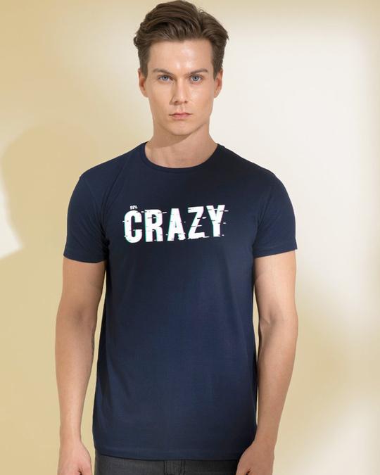 Shop Crazy Navy Graphic T Shirt-Front