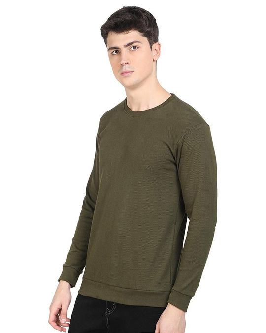 Shop Green Popcorn Full Sleeve Cotton T Shirt-Back