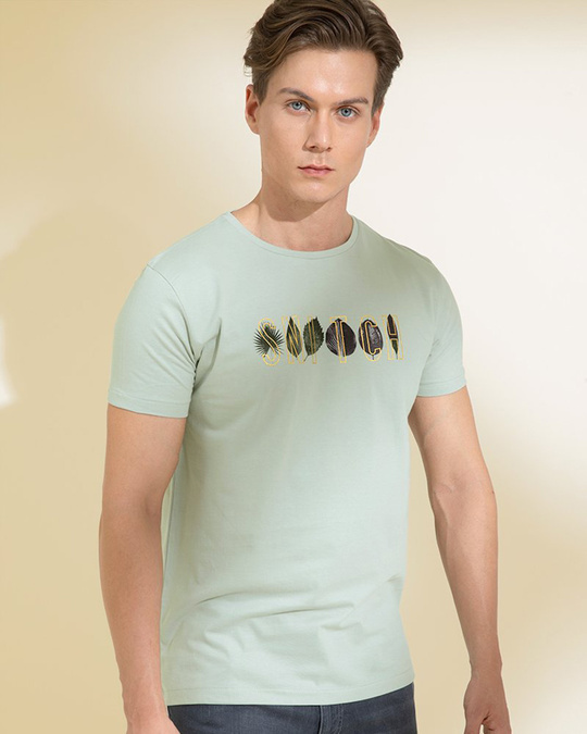 Shop Leaves Grey Graphic T Shirt-Back