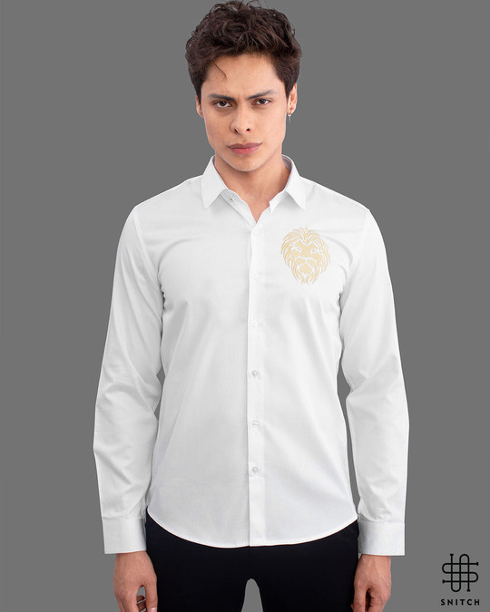 Shop Snitch Masai Lion White Full Sleeves Shirt-Front