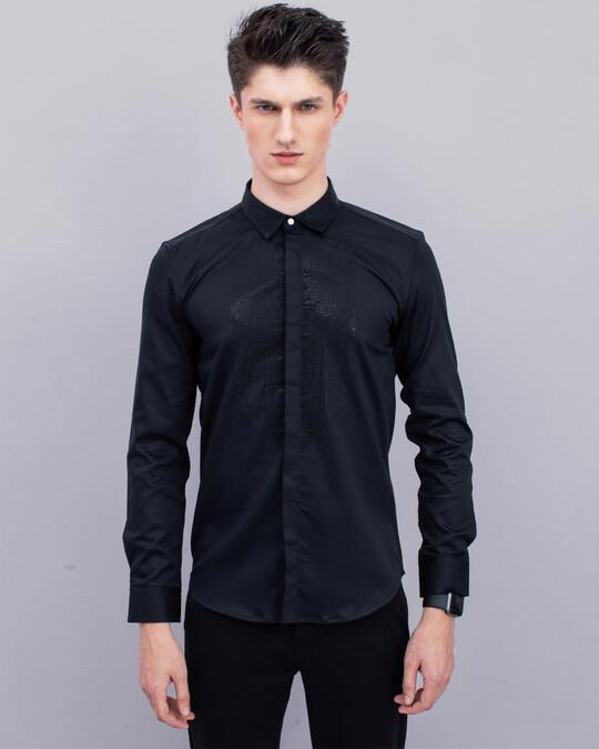 Shop Navy Beaded Designer Shirt-Back