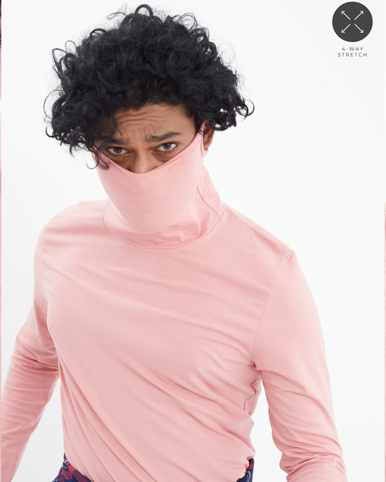 Shop Pink Full Sleeves T Shirt With Face Cover-Front