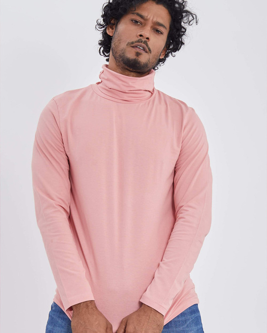 Shop Pink Full Sleeves T Shirt With Face Cover-Design