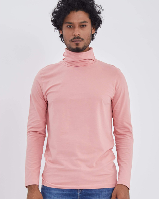 Shop Pink Full Sleeves T Shirt With Face Cover-Full