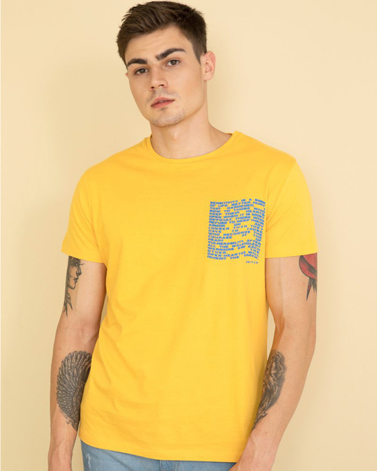 Shop Pocket Yellow Graphic T Shirt-Front