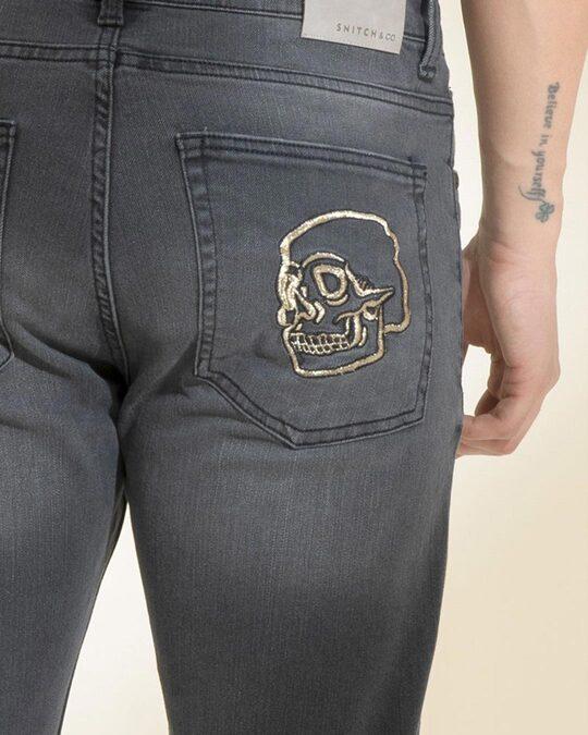 Shop Skull Stone Grey Denim