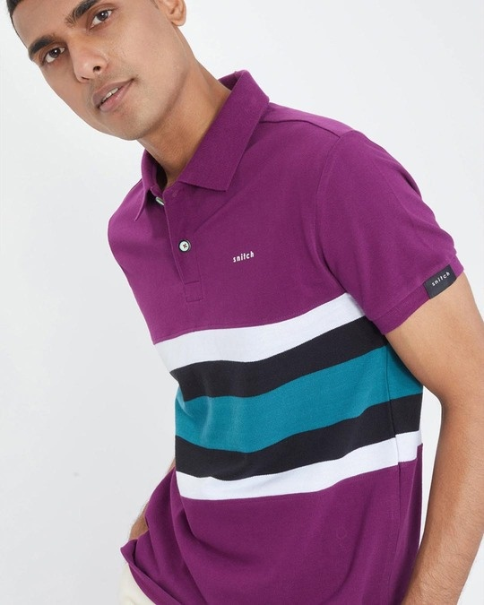 Shop Tyrian Purple Cut & Sew Knitted Polo T Shirt-Design