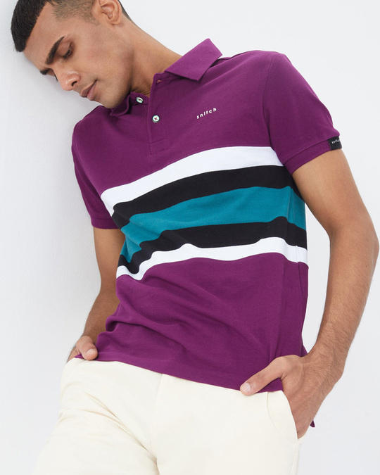 Shop Tyrian Purple Cut & Sew Knitted Polo T Shirt-Full