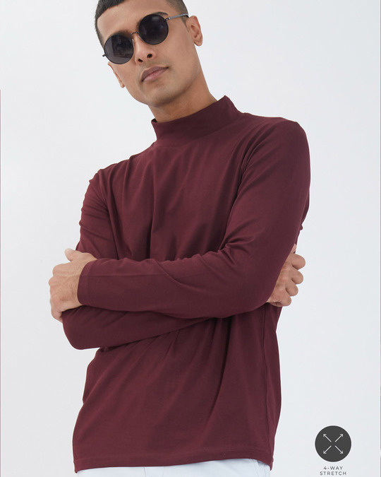 Shop Wine Full Sleeves 4 Way Stretch Turtle Neck T Shirt-Front