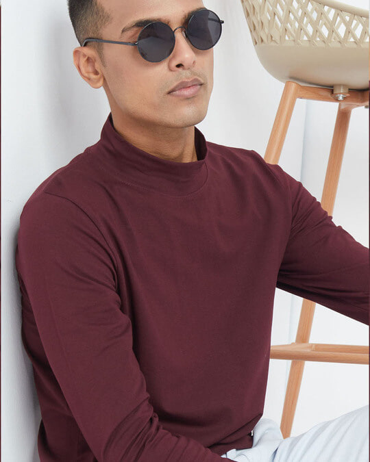 Shop Wine Full Sleeves 4 Way Stretch Turtle Neck T Shirt-Full