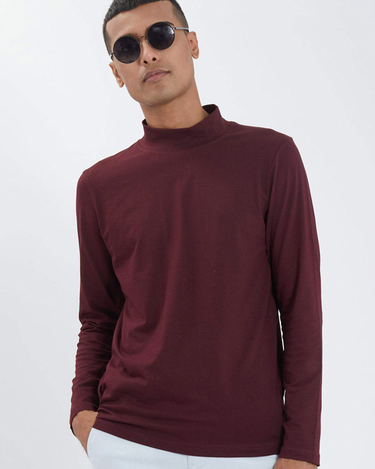 Shop Wine Full Sleeves 4 Way Stretch Turtle Neck T Shirt