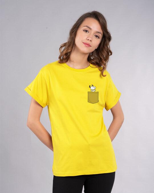Shop Snoopy Pocket Boyfriend T-Shirt-Back